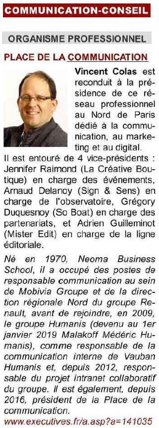 executives place de la communication janvier 2019