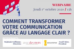 webinar langage clair place de la communication